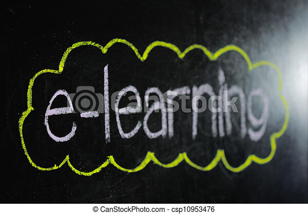 An image of a chalk board with the word e-learning - csp10953476