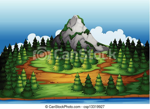 An island full of pine trees - csp13319927