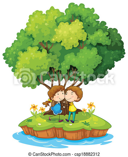 An island with a sweet couple - csp18882312
