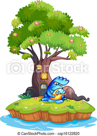 an island with a tree house and a monster with a child illustration rh canstockphoto com tree house clip art image tree house clipart black and white