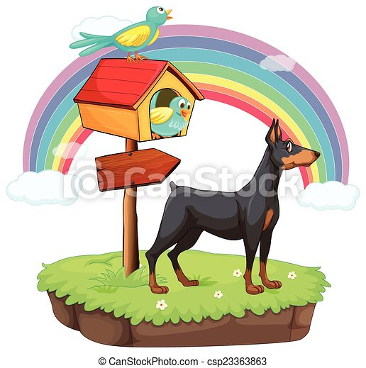 An island with animals and a wooden arrow - csp23363863