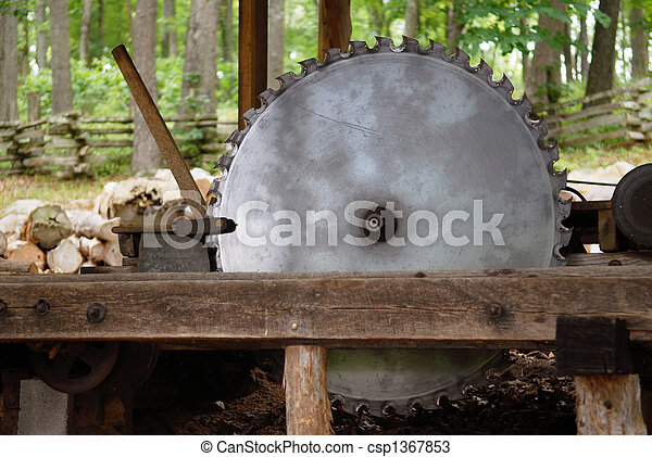 An Old Carriage Saw A Working Old Sawmill