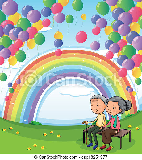 An old couple below the floating balloons and the rainbow - csp18251377