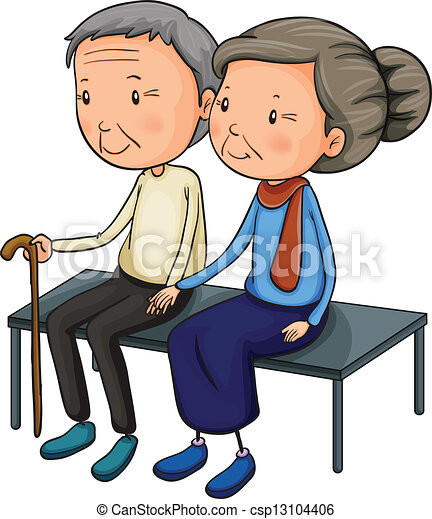 illustration of an old couple dating on a white background vector rh canstockphoto com old couple cartoon clipart old couple clipart black and white