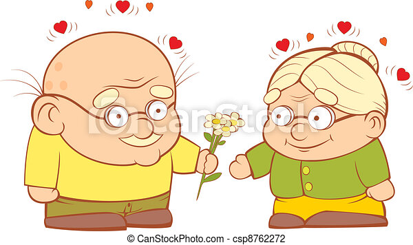 an old couple in love grandpa gives flowers to my vector rh canstockphoto com old couple dancing clipart old couple clipart free