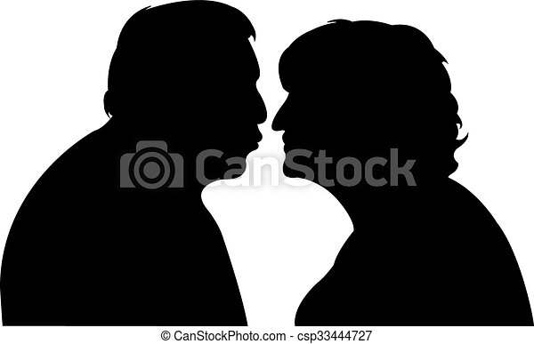 an old couple, kissing each other - csp33444727
