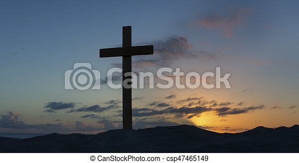 An old cross on sand dune next to the ocean with a calm sunrise - csp47465149