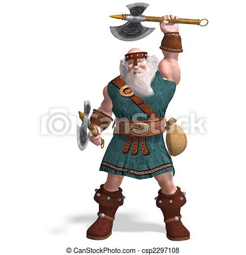 an old dwarf with an axe - csp2297108