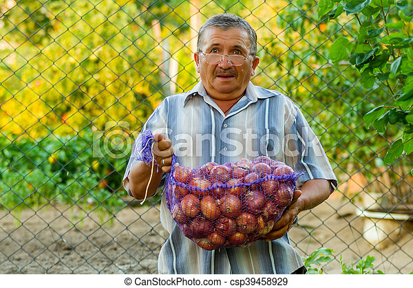 An old man with a bag of onions - csp39458929
