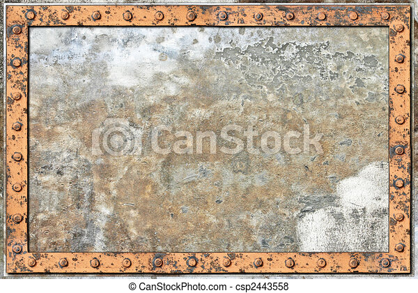 An Old Metal Background with Rivets - csp2443558