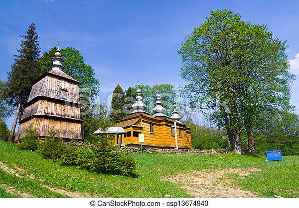 An old Orthodox church in Rzepedz, Beskid Niski Mountains, South Eastern Poland.  - csp13674940