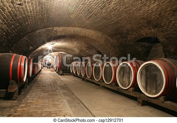 An old wine cellar with barrels - csp12912701