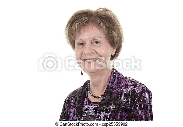 An old woman smiling on a white background - csp25553902