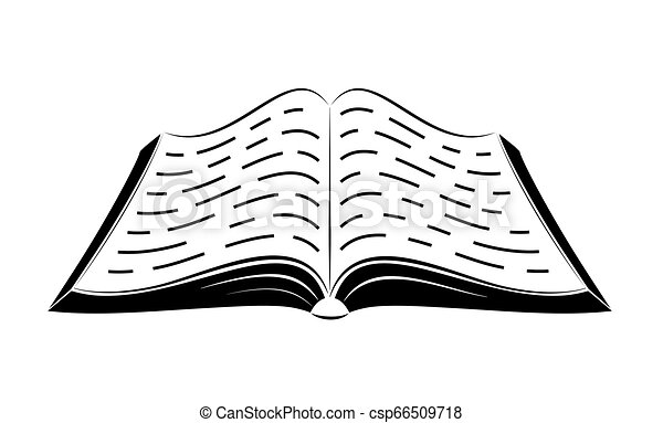 An open book on the table. Simple black outlines. Logo or emblem of a bookstore or knowledge base. - csp66509718