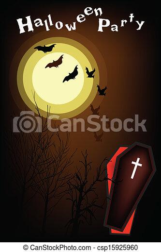 An Open Coffin on Halloween Night Background