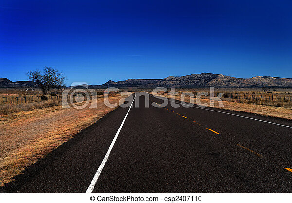An open country road in the Texas hill country - csp2407110