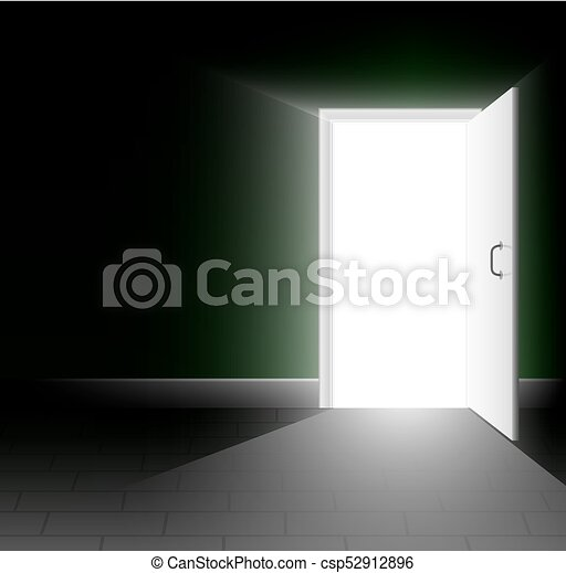 An open door in a dark room  A ray of light shines into the darkness  A  bright way out