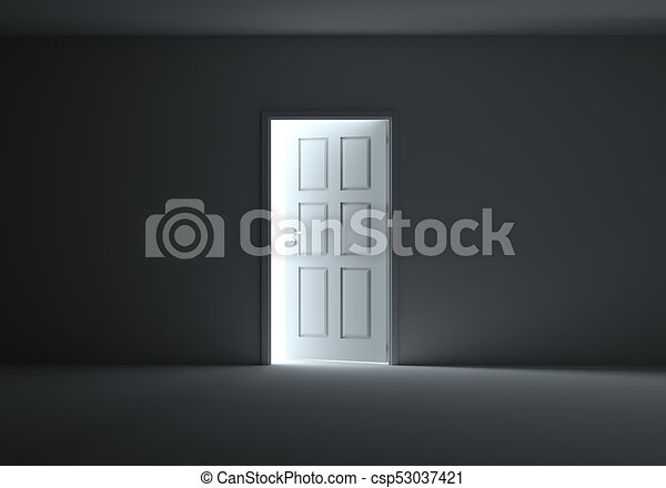 An open door with light streaming into dark room An open clip