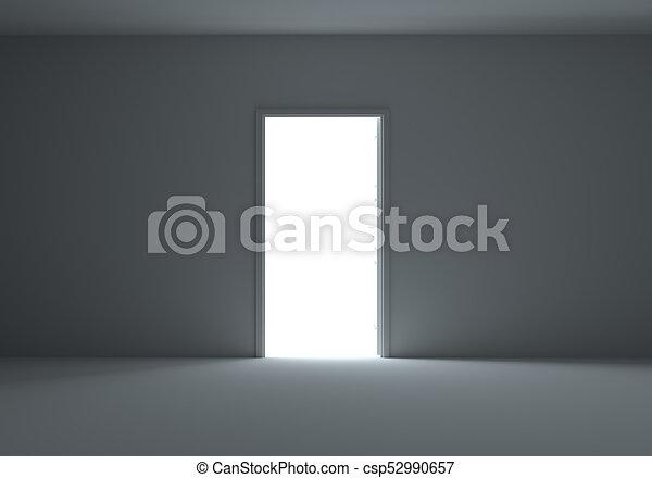 An open door with light streaming into dark room An open stock