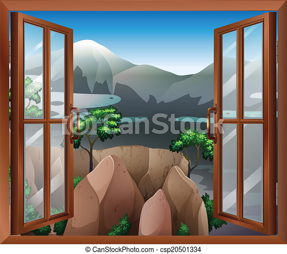An open window with a view of the cliff - csp20501334