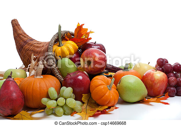 An overflowing cornucopia on a white background - csp14669668