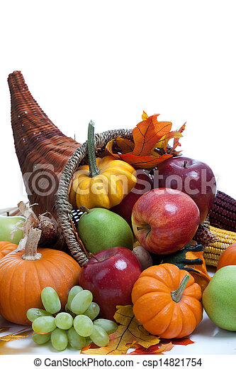 An overflowing cornucopia on a white background - csp14821754