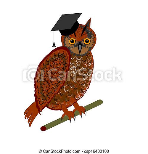 An owl wearing a graduation cap - csp16400100