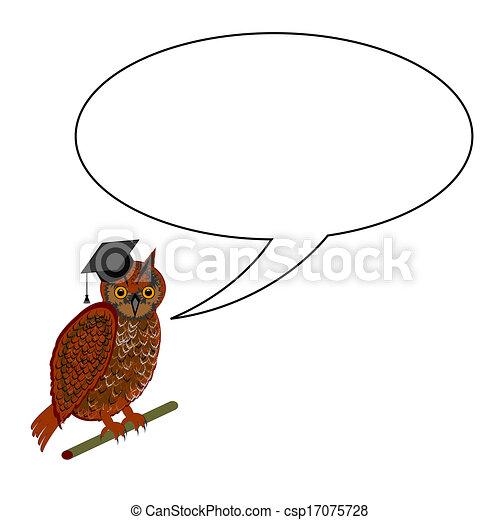 An owl wearing a graduation cap with a speech bubble - csp17075728