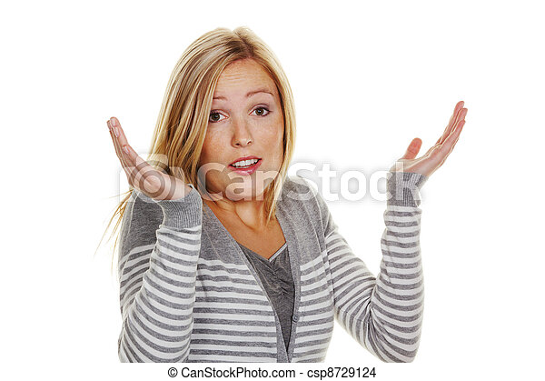 an unsuspecting woman shrugs. shrug of helplessness and - csp8729124