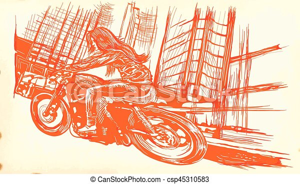 An woman riding motorcycle. An hand drawn vector. Freehand drawing. - csp45310583