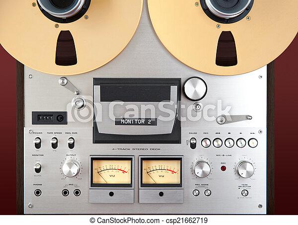 Analog Stereo Open Reel Tape Deck Recorder VU Meter Closeup - csp21662719