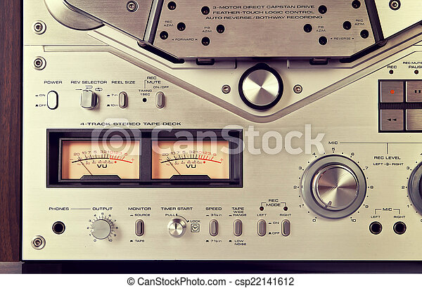 Analog Stereo Open Reel Tape Deck Recorder VU Meter Device Close - csp22141612