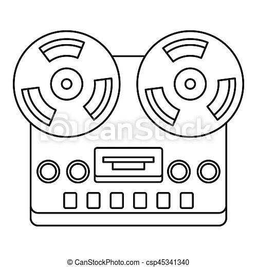 Analog stereo open reel tape deck recorder icon - csp45341340
