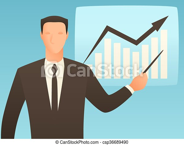 Analysis business conceptual illustration with businessman and growth graph  - csp36689490