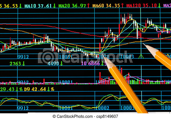 Analysis colorful stock chart on monitor - csp8149607