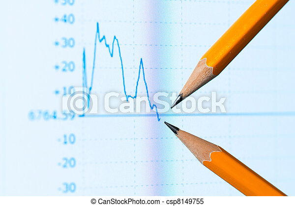 Analysis colorful stock chart on monitor - csp8149755