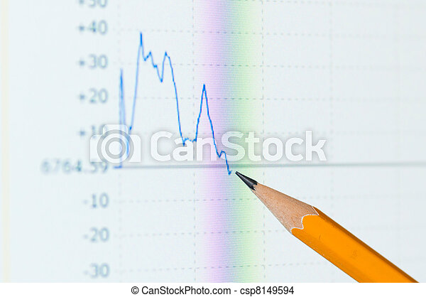 Analysis colorful stock chart on monitor - csp8149594