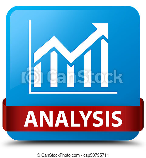 Analysis (statistics icon) cyan blue square button red ribbon in middle - csp50735711