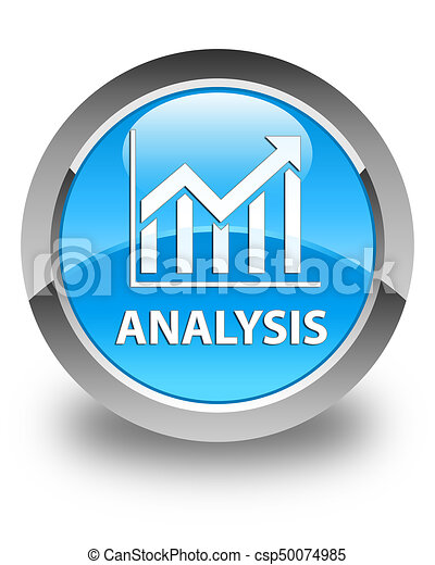 Analysis (statistics icon) glossy cyan blue round button - csp50074985