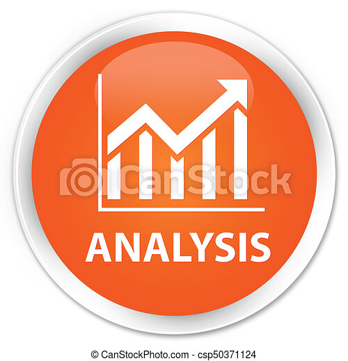 Analysis (statistics icon) premium orange round button - csp50371124