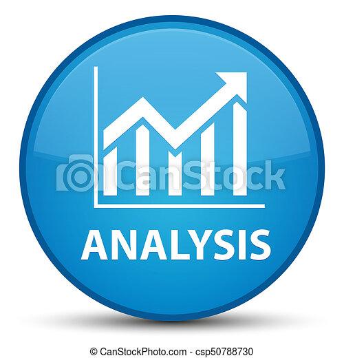 Analysis (statistics icon) special cyan blue round button - csp50788730