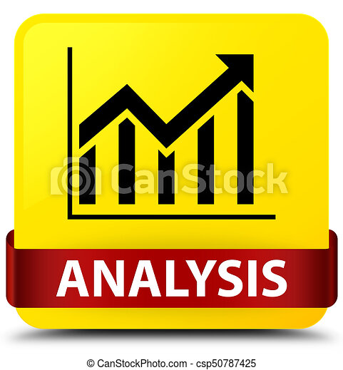 Analysis (statistics icon) yellow square button red ribbon in middle - csp50787425