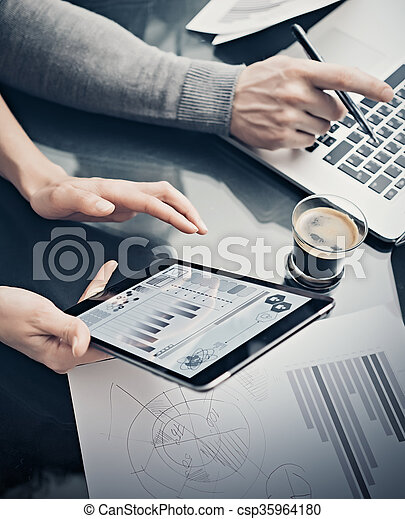Analytical department working process.Closeup woman showing business reports modern tablet screen.Statistics graphics screen.Banker holding pen for signs documents,discussion startup.Film effect - csp35964180