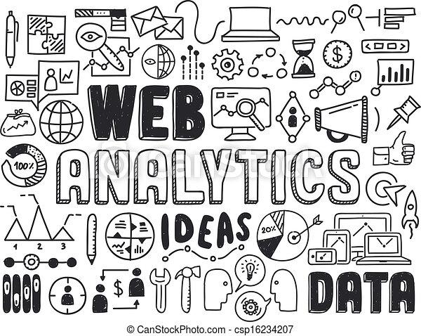 analytics, 網, 要素, いたずら書き - csp16234207
