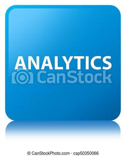 Analytics cyan blue square button - csp50350066