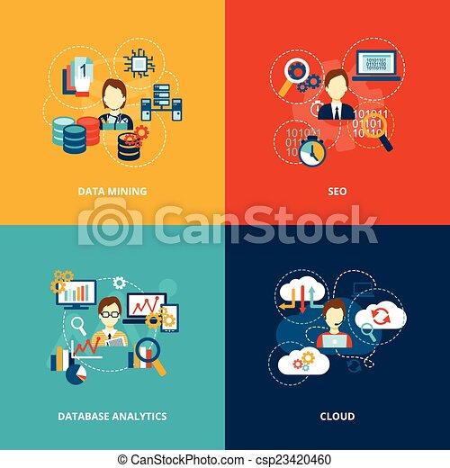 analytics, databank, plat, iconen - csp23420460