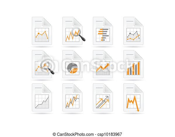 analytics, estatísticas, arquivo, ícones - csp10183967