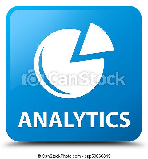 Analytics (graph icon) cyan blue square button - csp50066843