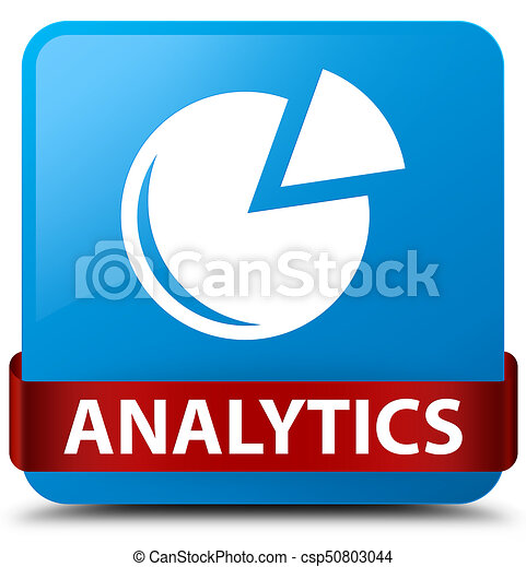 Analytics (graph icon) cyan blue square button red ribbon in middle - csp50803044