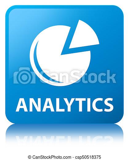 Analytics (graph icon) cyan blue square button - csp50518375